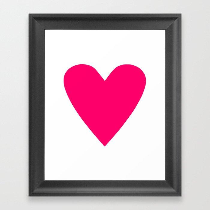 Neon Pink Heart Gerahmter Kunstdruck