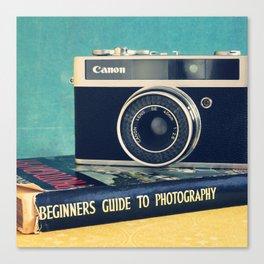 Vintage camera art, photography still life. Canvas Print