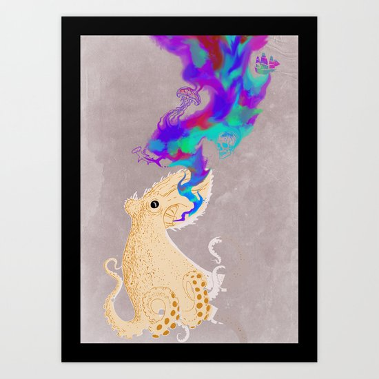 Black Oktopus and his colored ink Art Print