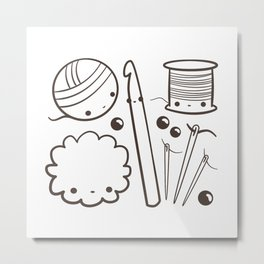 crochet cute - kawaii craft supplies Metal Print