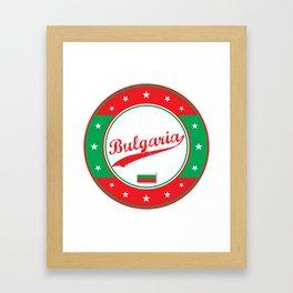 Bulgaria, circle, white, with flag Framed Art Print