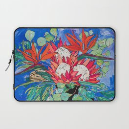 Tropical Protea Bouquet with Toucans in Greek Horse Urn on Ultramarine Blue Laptop Sleeve