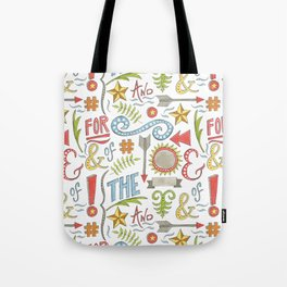 pattern of hand drawn typographic elements Tote Bag