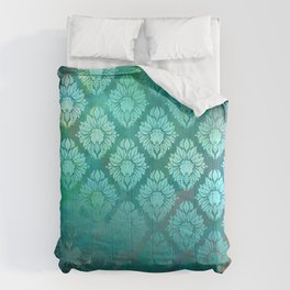 """Turquoise Ocean Damask Pattern"" Comforters"