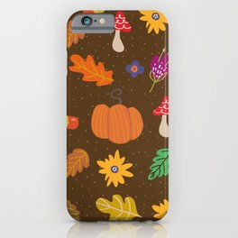 Autumn Fall Leaves Flower Pattern iPhone Case