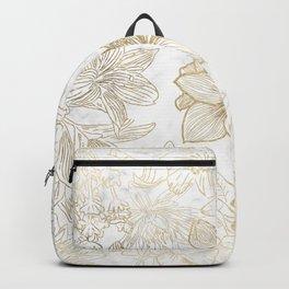 Elegant modern white faux gold marble floral Backpack