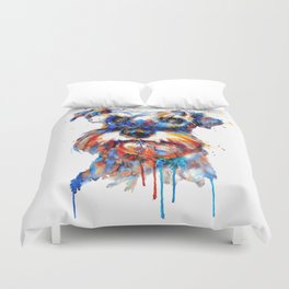 Schnauzer Head Watercolor Portrait Duvet Cover