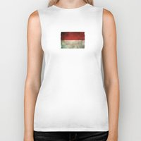indonesia Biker Tanks featuring Old and Worn Distressed Vintage Flag of Indonesia by Jeff Bartels