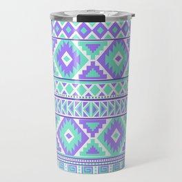 Tribal Art Creation Purple and Mint Travel Mug