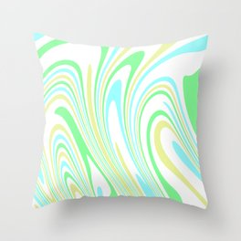 Blue, Yellow, and Green Waves 2 Throw Pillow