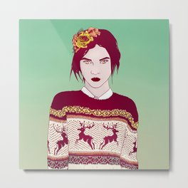 Sweater Weather Lady Metal Print