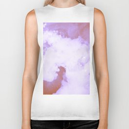 DREAMY PINK AND WHITE RAINBOW CLOUDS Biker Tank