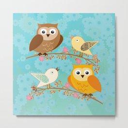 Birds and owls Metal Print