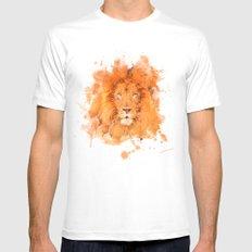 Splatter Lion Mens Fitted Tee MEDIUM White