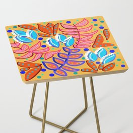 Whimsical Leaves Pattern Side Table