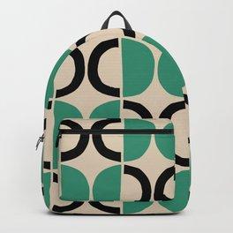 Mid Century Modern Half Circle Pattern 542 Beige Green and Black Backpack