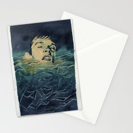 Drowning in Brainwaves- Portrait of Ian Curtis Stationery Cards