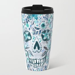 SECRET GARDEN SKULL Floral Watercolor Travel Mug