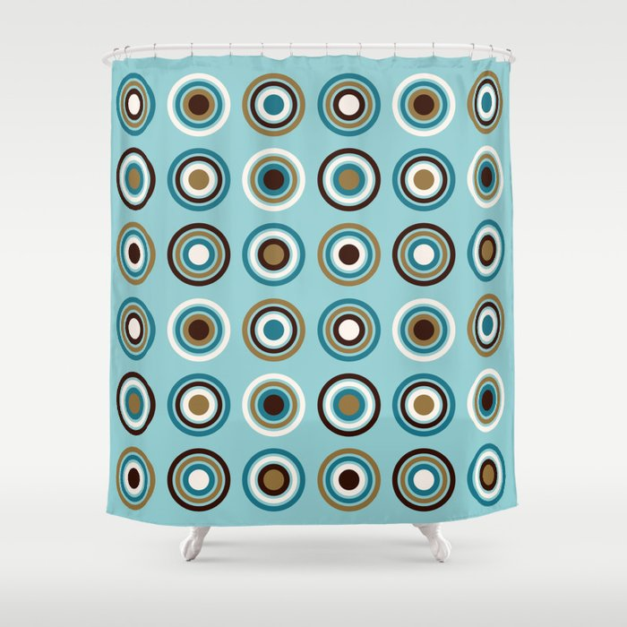 Circles In Rings Teals Gold Brown Cream Shower Curtain