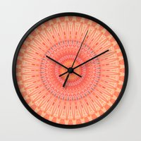 health Wall Clocks featuring Mandala mental health by Christine baessler