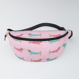 Cute dog lovers with dots in pink background Fanny Pack