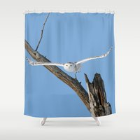 aviation Shower Curtains featuring I've got my sight set on you by thee_owl_queen
