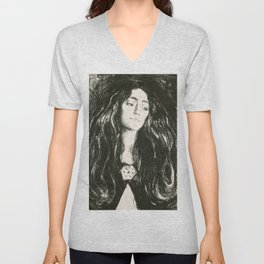 "Edvard Munch ""The Brooch. Eva Mudocci"", 1903 Unisex V-Neck"