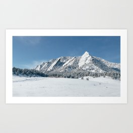 Snowy Flatirons Art Print