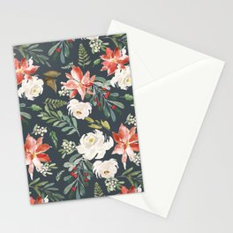 White rose Poinsettia and mistletoe Christmas pattern Stationery Cards