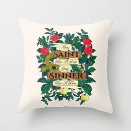 Saint & Sinner Quote on Cream Throw Pillow