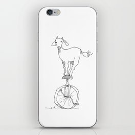 Goat on a unicycle iPhone Skin