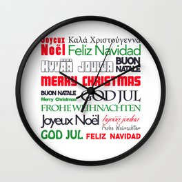 merry christmas in different languages II Wall Clock