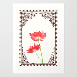 Vintage Red Flower 1 with Brown Border Art Print