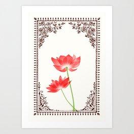 Vintage Red Flower 1 with Brown Border Art Print