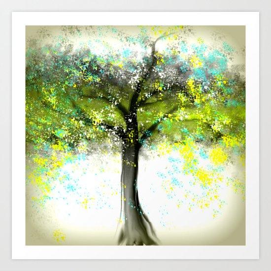Aqua and Yellow Tree Art Print