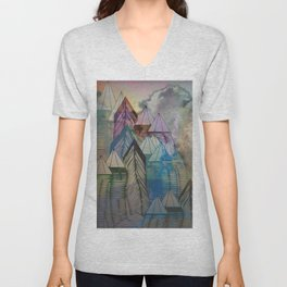 Triangular Endings on the Top Above the Clouds / Urban 04-11-16 Unisex V-Neck