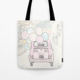 Pink Vintage Car with Balloons Dog and Cat in Countryside Tote Bag