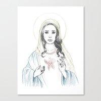 lana del rey Canvas Prints featuring Mary Del Rey by Mayumi Atanacio