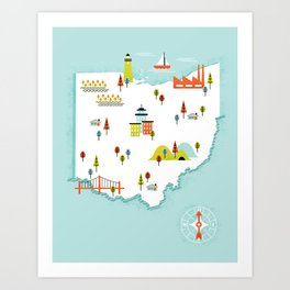 Ohio Map Art Print
