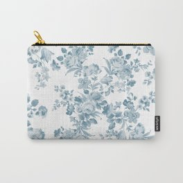 Vintage blue white bohemian elegant floral Carry-All Pouch