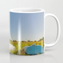 The historical white mill on the river bank at Thurne Mouth in the Norfolk Broads Coffee Mug