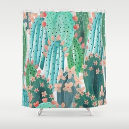 Colorful watercolor cacti Shower Curtain
