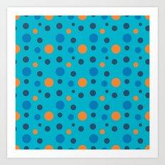 Blue and Orange dots on Blue Art Print