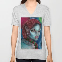 Apocolpyse Alien Girl Fantasy Art by Laurie Leigh Unisex V-Neck