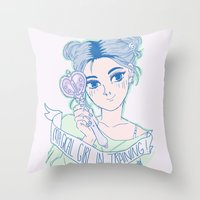 magical girl Throw Pillows featuring MAGICAL GIRL IN TRAINING by Natalie Nardozza