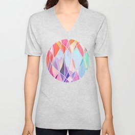 Purple & Peach Love - abstract painting in rainbow pastels Unisex V-Neck