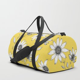Wildflower line drawing | Botanical Art Duffle Bag