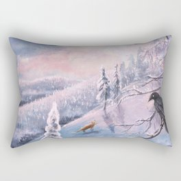 Frosty Pink Winter Scene Rectangular Pillow
