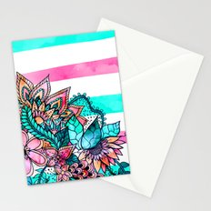Floral watercolor modern pink teal stripes Stationery Cards
