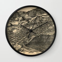 Bird's Eye View of Aspen, Colorado (1893) Wall Clock